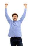 Man with raised hands up Stock Photos