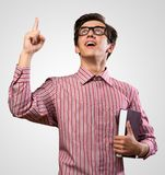 Man raised his index finger Royalty Free Stock Images
