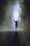 Man raising arms in the rain at night. Silhouette of man raising arms in the rain at night,illustration,digital painting Stock Images