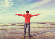 Man Raising His Hands ,freedom vintage image Stock Image