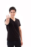 Man raising, showing 3 fingers hand sign gesture Royalty Free Stock Photos