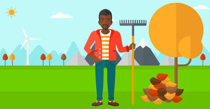 Man with rake near tree and heap of leaves. An african-american man with rake standing near tree and heap of autumn leaves vector flat design illustration stock illustration