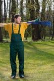 Man with a rake Stock Photo