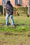 Man Raking the Garden Royalty Free Stock Image