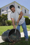 Man Raking Leaves In Garden Stock Photo