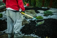 Man raking the soil as part of a landscaping project stock photography