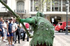 Man in Ramblas. Ramblas street in Barcelona city, Spain stock photos