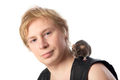 Man with a rat Royalty Free Stock Image