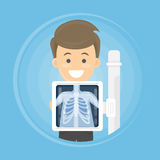 Man with x ray. Man with x ray chest bones. Medical treatment Royalty Free Stock Photo