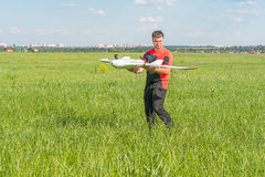 Man with rc model wing Royalty Free Stock Image