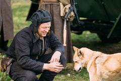 Man Re-enactor Dressed As Russian Soviet Red Army Crew Member Soldier Of World War II Playing with Dog. Pribor, Belarus - April 23, 2016: Man Re-enactor Dressed stock images