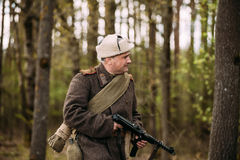 Man Re-enactor Dressed As Russian Soviet Red Army Infantry Soldi Royalty Free Stock Photo