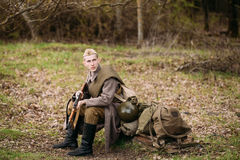 Man Re-enactor Dressed As Russian Soviet Red Army Infantry Soldier Royalty Free Stock Image