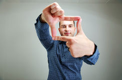 Man reaching for something. Portrait of a man reaching for something Stock Photography