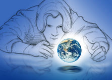 Man with earth in hands Royalty Free Stock Photo