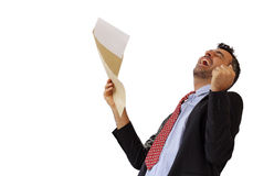 Man reacting with jubilation to a letter Royalty Free Stock Photo