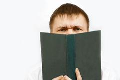 Man read the book. On white Royalty Free Stock Photo