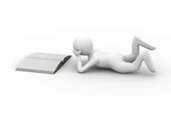 Man read book on white background. Isolated 3D image Stock Photos