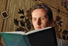 Man read interest book. Serious man read interest book Stock Photography