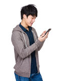 Man read on mobile phone Royalty Free Stock Images