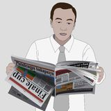Man read newspaper. Illustration of young businessman reading newspaper Stock Photos