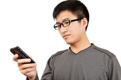 Man read SMS on cellphone Royalty Free Stock Photos