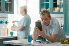 Man reading bad news royalty free stock photography