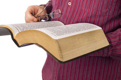 Man reading a Bible Royalty Free Stock Photos