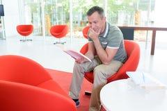 Man reading a book. Man royalty free stock photo