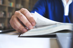 Man reading a book. Education, Academic, Learning and Exam conce. Pt Royalty Free Stock Photos