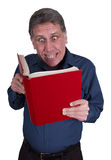 Man Reading Book Funny Smile Isolated on White royalty free stock photo