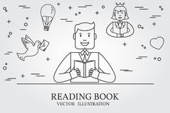Man Reading A Book And Imagining The Story. Think line icon. Vec Royalty Free Stock Photos