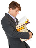 Man reading book in library Stock Images