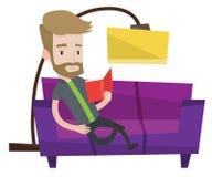 Man reading book on sofa vector illustration. Stock Photography