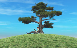 Man reading a book. Under a tree. This is a 3d render illustration Royalty Free Stock Photos