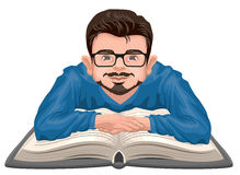Man reading book. Young man in glasses placed his hands on an open book Stock Image