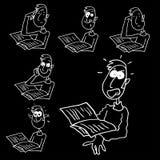 Man reading cartoon Stock Images