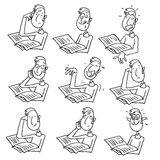 Man reading cartoon. Character with different facial expressions. white and black vector outline drawing Royalty Free Stock Photography