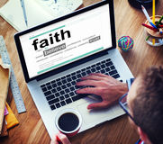 Man Reading Definition Faith Concept Royalty Free Stock Photography