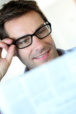 Man reading with eyeglasses Royalty Free Stock Photos