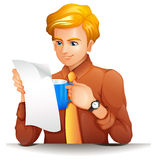 A man reading while holding a blue mug Stock Images