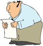 Man reading from a long list. This illustration depicts a man reading from a long piece of paper Royalty Free Stock Images
