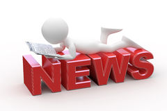 Man reading, lying on the News word Royalty Free Stock Images