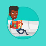 Man reading magazine on sofa vector illustration. Royalty Free Stock Images