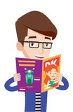 Man reading magazine vector illustration. Stock Photos