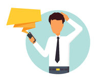 Man reading message on mobile. Man receive worrying message. People character vector illustration Royalty Free Stock Photo