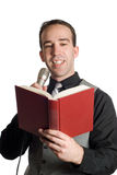 Man Reading Into Microphone Stock Photo