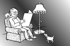 Man Reading News with Cats and Dog Stock Photos