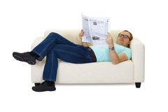 Man reading a newspaper Royalty Free Stock Photos