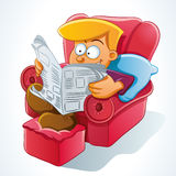 Man Reading Newspaper vector illustration